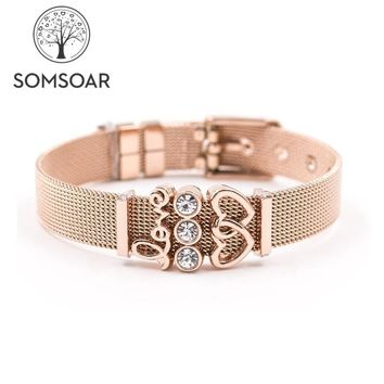 Dropshipping Somsoar Jewelry Rose Gold LOVERS SET Mesh Bracelet Stainless steel Bangle Story Bracelet as Valentines Gift