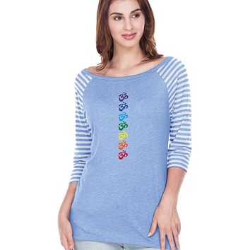 Yoga Clothing For You Chakra OMS Striped Contrast 3/4 Sleeve Yoga Tee Shirt