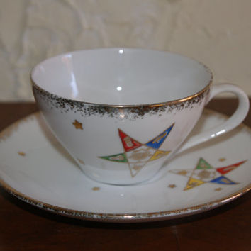 Vintage EASTERN STAR Motif Ceramic Cup And Saucer Gold Trim Marked Made In Japan C-73