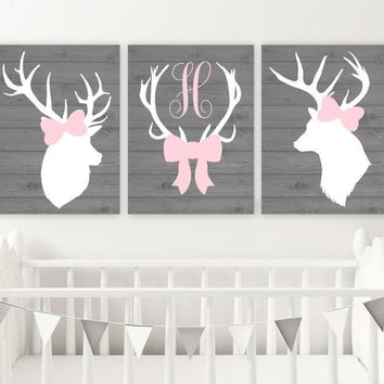 GIRL DEER Wall Art, Girl Deer Nursery Decor, Canvas or Prints, Pink Gray Nursery Decor, Deer Head Antler, Girl Deer Monogram Bow, Set of 3