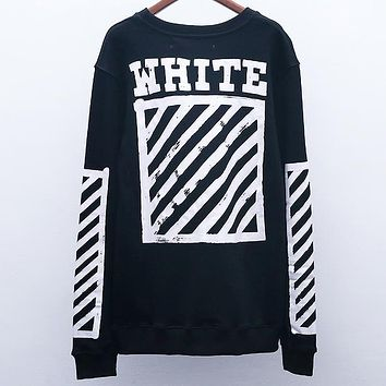 OFF-WHITE Autumn and winter tide brand graffiti arrow Zebra warning line round neck pullover sweater Black