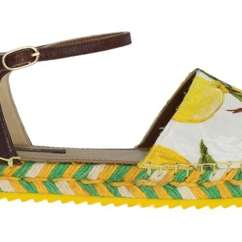 Lemon Brocade Espadrilles Sandals
