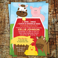 Farm Baby Shower Invitation -- 5x7 printed on cardstock -- available in any color, single or double sided