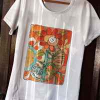 "Hand Painted T- shirt "" Chameleon "" . Artistic Paint by hand cottton t shirt in orange and green colors . Fun chameleon design .."