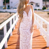 Starry Eyed Surprise Dress White/Taupe