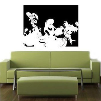 Alice in Wonderland Tea Party We are all mad here Wall Art Sticker Decal