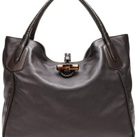 Gucci Dark Brown Leather Hip Bamboo Large Tote Bag