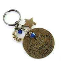 Love Beyond The Moon And Stars Keychain Bag Charm Keyring Yoga Accessories Blue Earthy Unique Birthday Gift For Her Under 20 Item G50