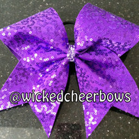 Cheer Bow - Purple Squiggle Sequins
