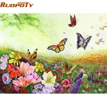 RUOPOTY Frame Butterfly DIY Painting By Numbers Kits Acrylic Paint  On Canvas Home Wall Art Picture For Room Decoration 40X50cm