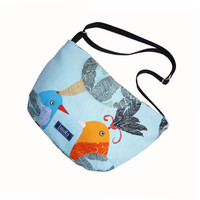 Blue orange bird pattern purse