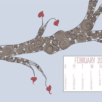 Instant Download - February 2015 Swirly Tree Heart Leaves Valentines Holiday Illustration Computer Desktop Monthly Calendar