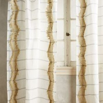 Averill Fringed Curtain by Anthropologie in Neutral Size: