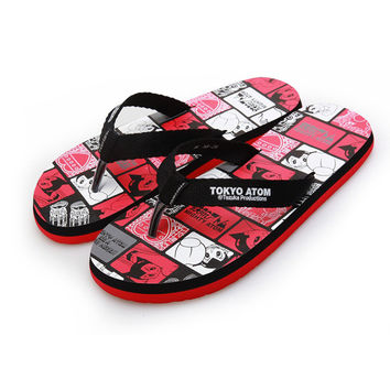 Summer Anime Print Home Flat Shock-absorbing Cartoons Couple Slippers [4918326532]