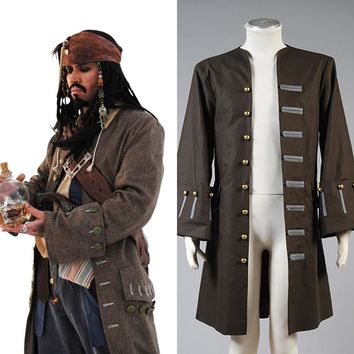 Cosplay Pirates Of The Caribbean Cosplay Costume jack Sparrow costume Jacket/coat only Halloween Carnival costume for adult
