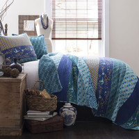 Royal Empire Blue Striped Boho 3 PC Quilt Bedding SET