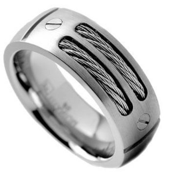 8MM Men's Titanium Ring Wedding Band with Stainless Steel Cables and Screw Design Sizes 7 to 13