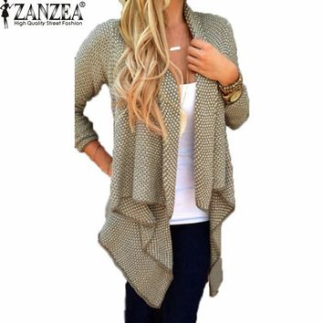 2016 Spring Autumn ZANZEA Women Blusas Casual Loose Knit Waterfall Cardigan Jacket Long Sleeve Irregular Sweater Coat Plus Size