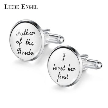 LIEBE ENGEL Wedding Cufflinks Custom White Black Background Men Cufflinks Groomsmen Gift the best