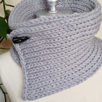 Pewter Gray Scarf, Toggle Button Scarf, Gray Knit Scarf, Cowl Scarf, Horn Button, Fashion Knitwear, Knit Essentials