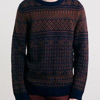 Selected Homme Navy Blue Patterned Jumper - Men's Cardigans & Sweaters - Clothing
