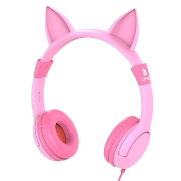 iClever Kids Headphones Cat-inspired Wired On-Ear Headsets with 85dB Volume Limited Food Grade Silicone (Kids-friendly) 3.5mm Audio Jack Children Headphones for Kids Pink