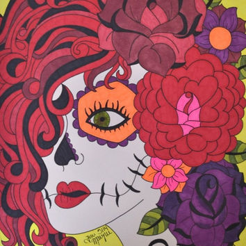 Create Tattoo Red Hair Sugar Skull Girl with Roses and Flowers Sharpie 9x12 Drawing Day of the Dead Dia De Los Muertos Alternat