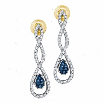 10kt Yellow Gold Women's Round Blue Color Enhanced Diamond Dangle Earrings 1-4 Cttw - FREE Shipping (US/CAN)