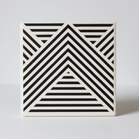 "Black Geometric Ceramic Coasters Stripe Pattern: Set of 4 in ""Intersection"" Hand Painted (Custom Color Choice)"
