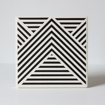 """Black Geometric Ceramic Coasters Stripe Pattern: Set of 4 in """"Intersection"""" Hand Painted (Custom Color Choice)"""