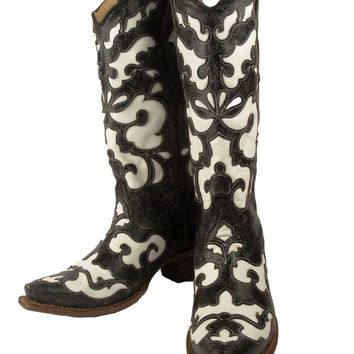 Women's Corral A1965 Black White Goat Inlaid Boots