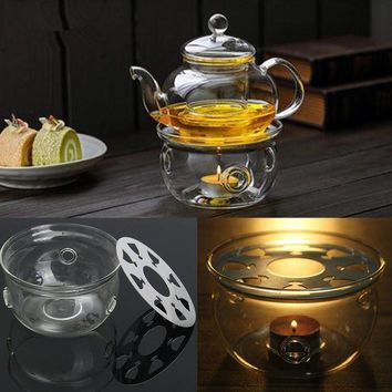 CREYLD1 Round Heating Base Coffee Water Scented Teapot Trivet Candle Clear Glass Heat-Resisting Tea Warmer Insulation Base Candle Holder