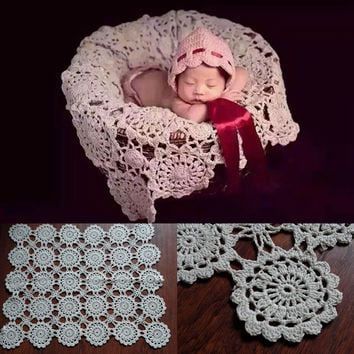 Crochet Baby Blankets Newborn Photography Props,Rosette Wrap Baby Pattern Knitted,#P0240