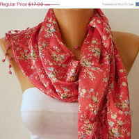 Women  Scarf -  Cowl with Lace - Red