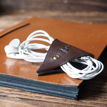 Leather Cord Holder - Earbud Cable Cord Organizer Handmade, Earphone Cord keeper, Headphone USB Winder, Personalized, Minimalist#Dark Brown