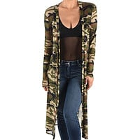 Funfash Women Army Green Mesh Kimono Duster Cardigan Coat Jacket Made in USA