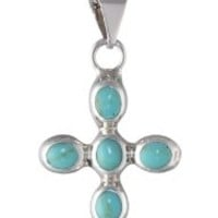 """Sterling Silver Turquoise Inlay Cross Pendant Necklace, 18"""":Amazon:Jewelry"""