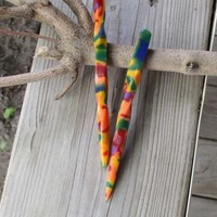 Acrylic Twisted Hair Sticks Tie Dye Carnival Camo 5 Inches