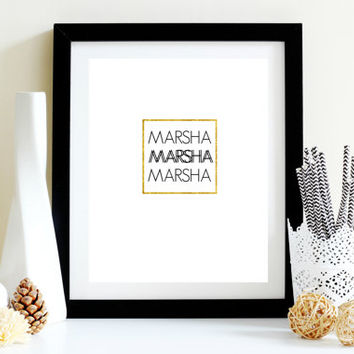 Marsha Gold Foil Black and White Teen Girl Brady Bunch Fan bedroom, office, cubicle, locker, mirror hanging printable download