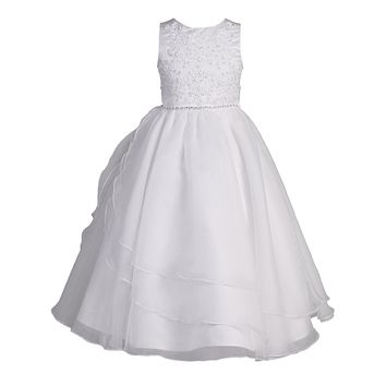 Floral Embroidered Girls Communion Dress w. Split Tulle Skirt 6-12 & Plus 8x-20x