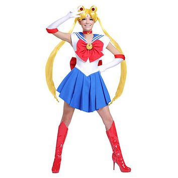 Women Sailor Moon Tsukino Usagi Dress Costume Set for Halloween Japanese Anime Cosplay