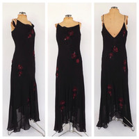 SIZE 14 Vintage 90s does 1920s Lawn Dress Size Medium Large Rayon Gown Black Rose Print Beaded Maxi Gown Velvet 1930s Bias Cut Gatsby Dress