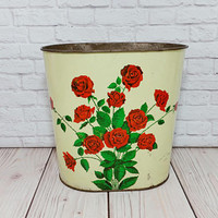Vintage Metal Red Rose Trash Can Waste Basket