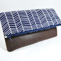 Navy blue herringbone print and brown faux leather fold over clutch, bag, zipper pouch, handbag