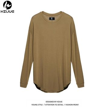 HZIJUE 2018 Kanye Extended Men High Low Side Casual oversize Men Hip Hop T Shirt Justin Bieber Style Clothes curved hem Tee tops