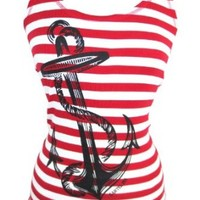 Pinky Star Pinup Sailor Anchor Logo Red and White Striped Rib Tank Top