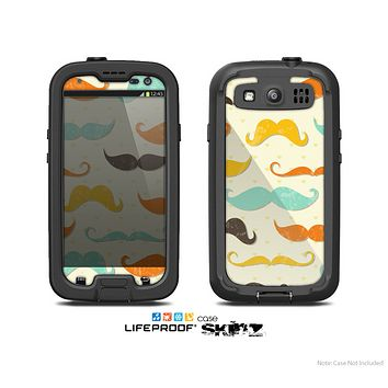 The Vintage Colorful Mustaches Skin For The Samsung Galaxy S3 LifeProof Case