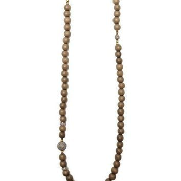 Heather Gardner - African Wood Bead Diamond Necklace