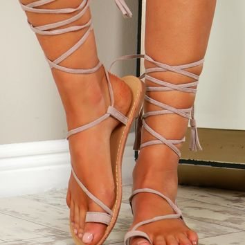 Faux Suede Tie Up Sandals Taupe