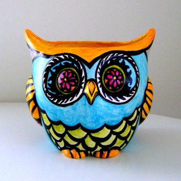 Owl Decor Ceramic Flower Pot Planter Painted Garden Folk Art Woodland Heart Feathers Stripes Turquoise Blue Orange Pink Green